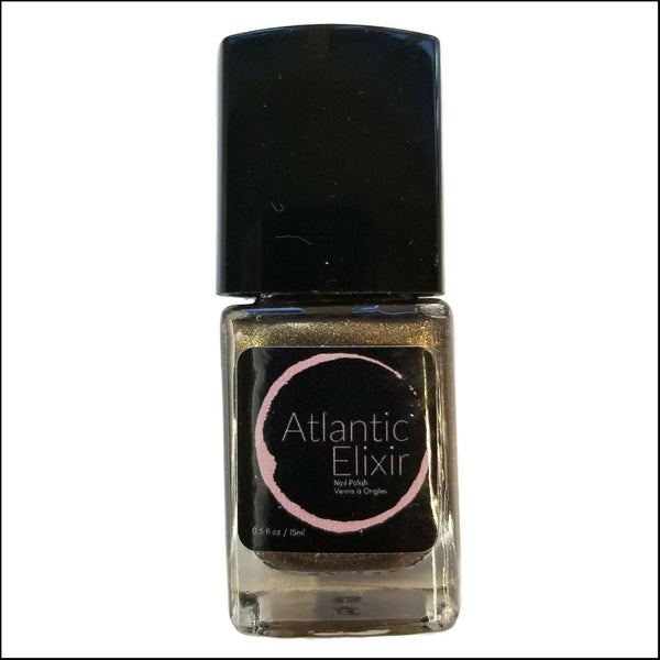 Front of Bottle | Captain Black Bart | Artisan Nail Polish by Atlantic Elixir | A luxurious gold and bronze with a a dark undertone