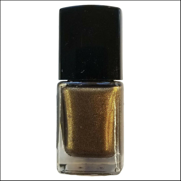 Back of Bottle | Captain Black Bart | Artisan Nail Polish by Atlantic Elixir | A luxurious gold and bronze with a a dark undertone