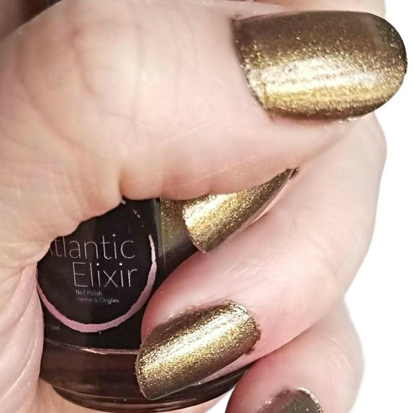 On Nails | Captain Black Bart | Artisan Nail Polish by Atlantic Elixir | A luxurious gold and bronze with a a dark undertone
