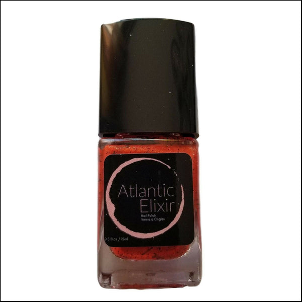 Front | Devil's Paintbrush | Artisan Nail Polish by Atlantic Elixir | Various variations in color, including red, orange, and yellow tones with an underlying black stem. So here's The Devil's Paintbrush in a bottle!