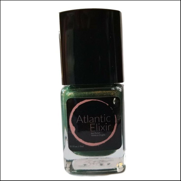 Front | Forestry | Artisan Nail Polish by Atlantic Elixir | Enter the forest with its golden toned depths of lush green. A unique tone for admiration of all that lives.