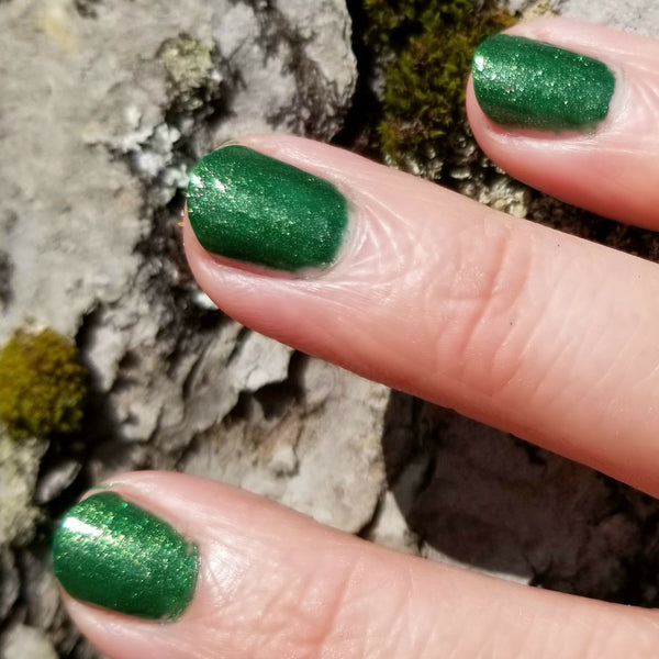 Close Up | Forestry | Artisan Nail Polish by Atlantic Elixir | Enter the forest with its golden toned depths of lush green. A unique tone for admiration of all that lives.