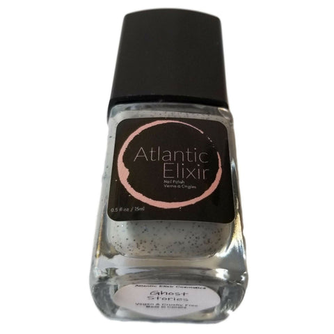Ghost Stories | Artisan Nail Polish by Atlantic Elixir Cosmetics | A pale and almost translucent cool gray with extraordinary orbs of holographic color changing sparkle!
