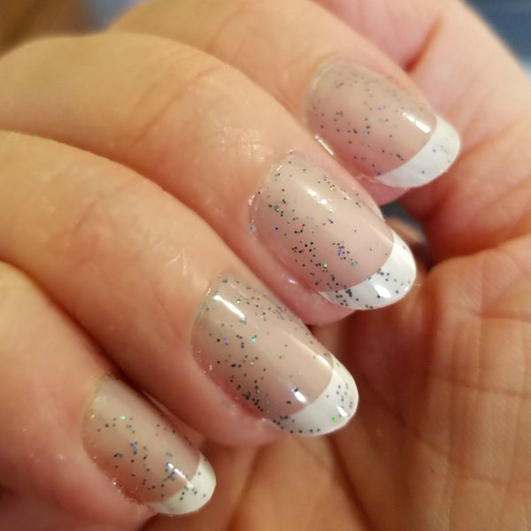 One Coat  Ghost Stories | Artisan Nail Polish by Atlantic Elixir Cosmetics | A pale and almost translucent cool gray with extraordinary orbs of holographic color changing sparkle!