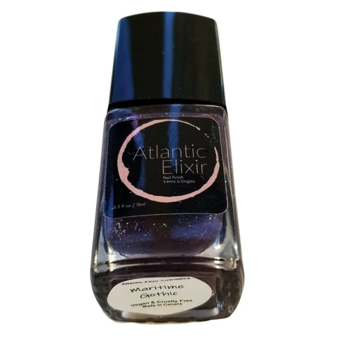 Main Image | Maritime Gothic | Artisan Nail Polish by Atlantic Elixir | A deep violet shade with an ashen tone. Its charcoal glitter ignites a holographic sparkle