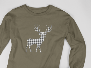 Gingham Deer Long Sleeve Tee