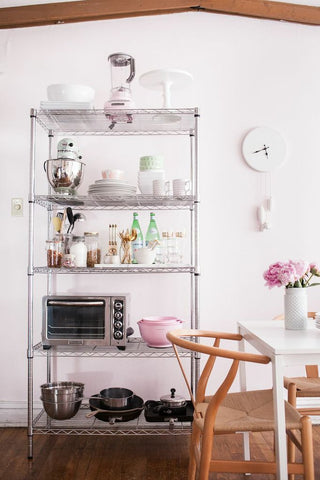 wire shelves in dining room