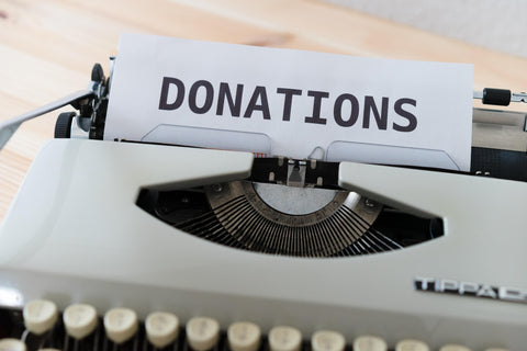 Donations list on typewriter