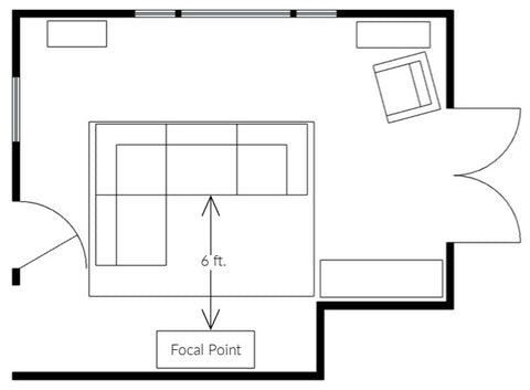 SketchUp floor plan of living room