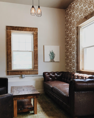 modern peel and stick wallpaper in living room