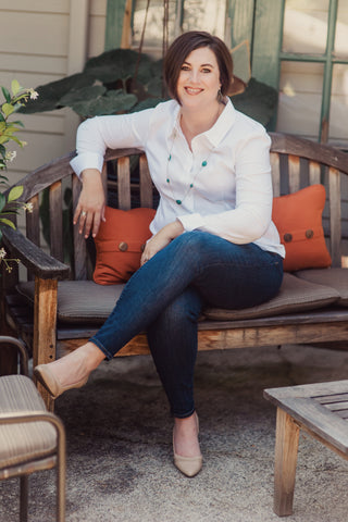 Emily Powers with Three-Sixty Interiors sitting on bench