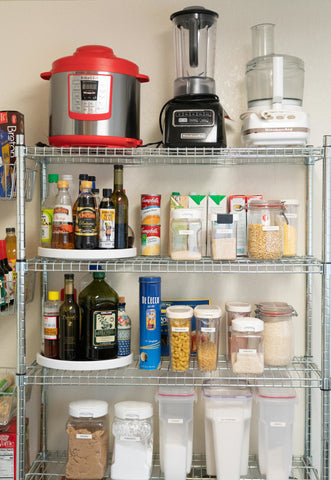 wire shelves in pantry