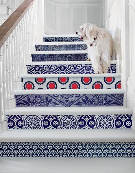 wallpaper on stairs