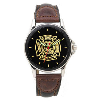 Leather Band Firefighter & EMS Watches