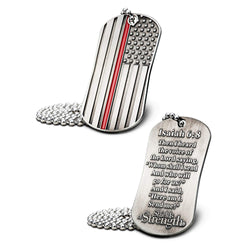 Thin Red Line American Flag Dog Tag