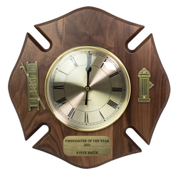 Personalized Firefighter Maltese Clock-Walnut