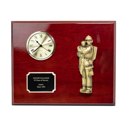 Fireman and Child Clock and Plaque