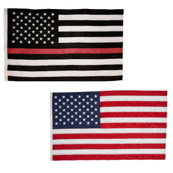 Thin Red Line and Classic American Flag Combo Pack for Outdoor 3x5 feet