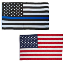 Thin Blue Line and Classic USA American Flags Combo Pack