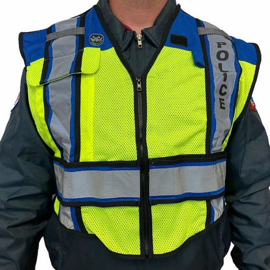 POLICE UltraBright Blue 6-Point Breakaway Public Safety Vest