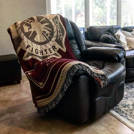 Customized Fire Dept Throw Blanket in Memory on Chair