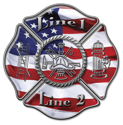 Customized Firefighter Maltese USA Flag Decal