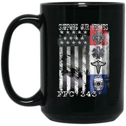 FFC 343 Support Our Heroes  15 oz. Black Coffee Mug