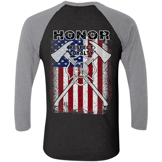 FFC 343 Honor Respect Loyalty 3/4 Sleeve Baseball T-Shirt