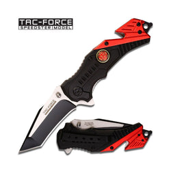 Red and Black Folding Knife Firefighter Gifts
