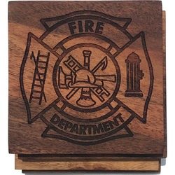 Fire Dept Maltese Solid Wood Coasters- Set of 4