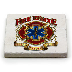 Fire Rescue Gold Shield Coaster