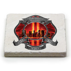 Red High Honor Firefighter Tribute Coaster