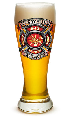 Fire Honor Courage sacrifice 343 badge Pilsner Glass
