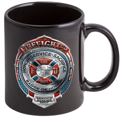Fire Honor Service Sacrifice Chrome Badge Coffee Mugs
