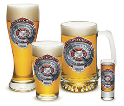 Fire Honor Service Sacrifice Chrome Badge Glassware Gift Set