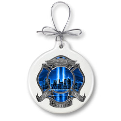 911 Firefighter Blue Skies We Will Never Forget Ornament