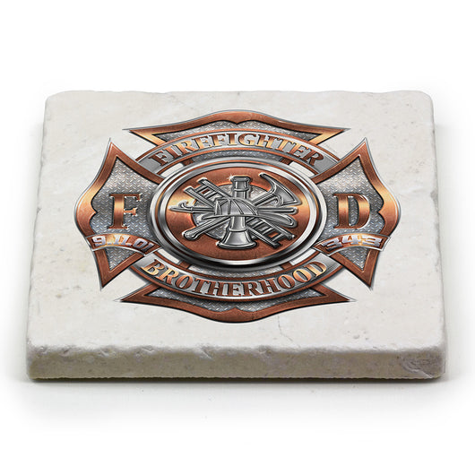 Fire Dept Polished Brass Diamond Plate Coaster