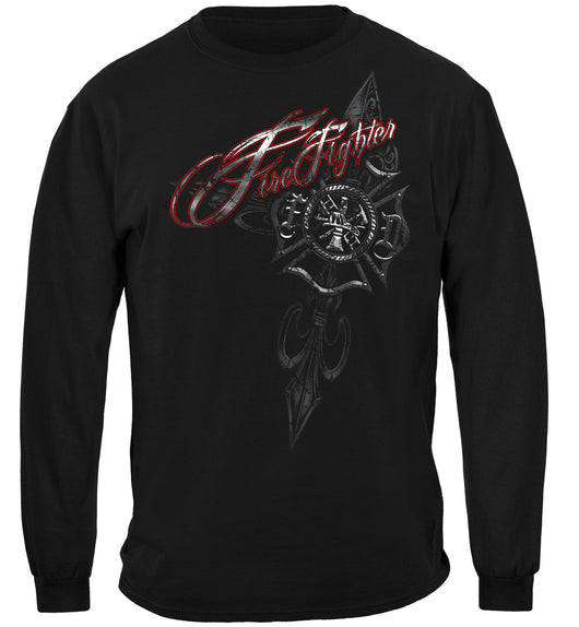 Firefighter Red Script Red Foil Long Sleeves