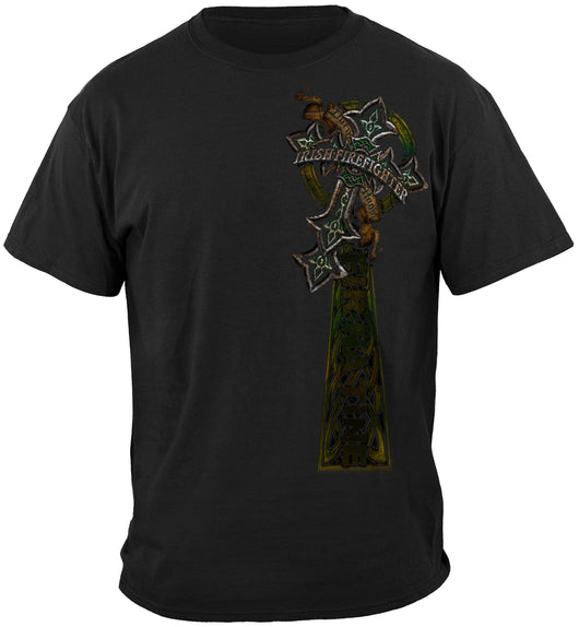 Firefighter Irish Celtic Cross Green Foil T-Shirt