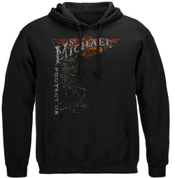 Firefighter St.Micheal'S Protect Us Silver Foil Hooded Sweat Shirt