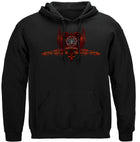 Firefighter Red Wings Rise Above Fear Silver Foil Hooded Sweat Shirt