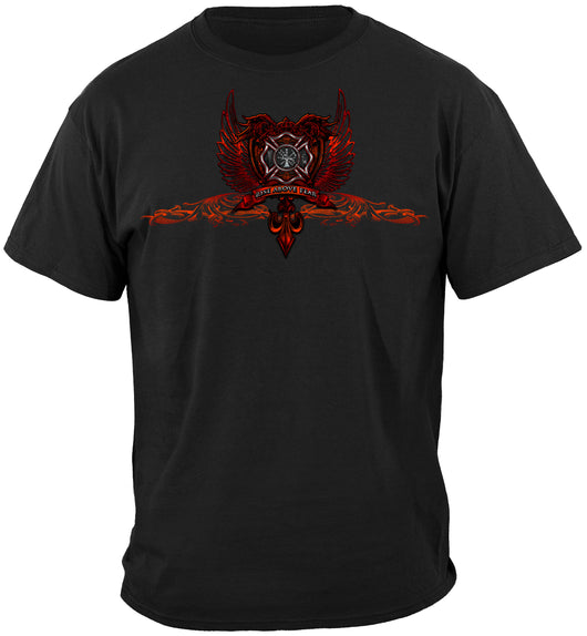 Firefighter Red Wings Foil T-Shirt