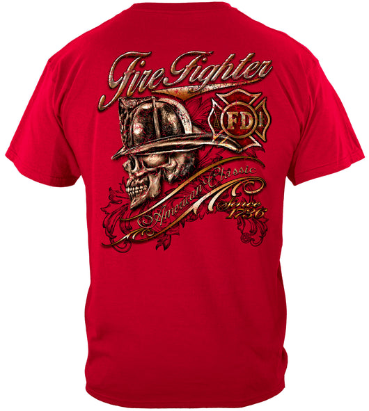 Red Firefighter Skull T-shirt