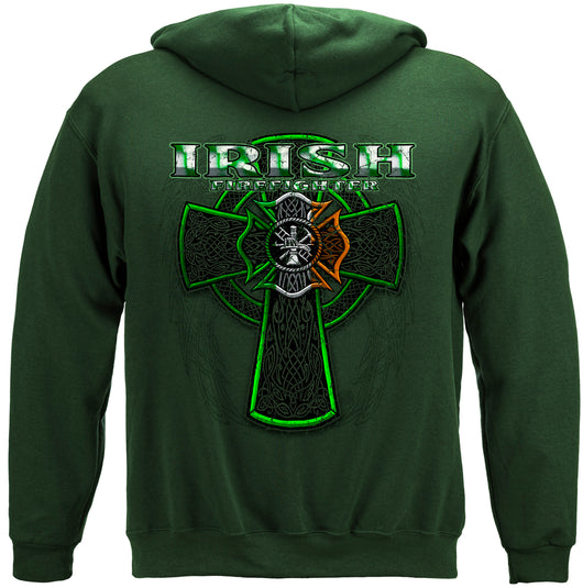 Firefighter Irish Green Foil Hooded Sweat Shirt