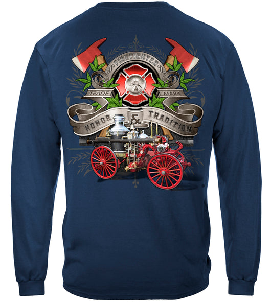Firefighter Traditional Anique Pump Truck Long Sleeves