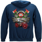 Firefighter Traditional Anique Pump Truck Hooded Sweat Shirt