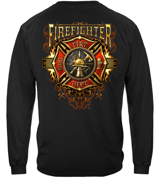Firefighter Flames Gold Shield Long Sleeves