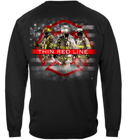Firefighter American Flag Thin Red Line Long Sleeves