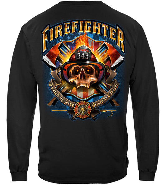 Firefighter Patriotic  Skull Long Sleeve Shirt