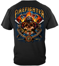 Fire fighter Patriotic patriot Skull T-Shirt